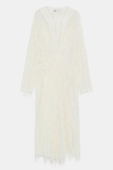 Vestido Estructura Flecos de Zara en 21 Buttons