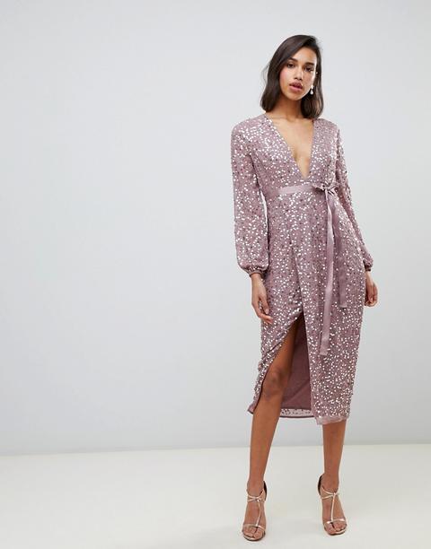 Vestido Midi Con Lentejuelas Dispersas Y Lazo En La Cintura De Asos Design-rosa