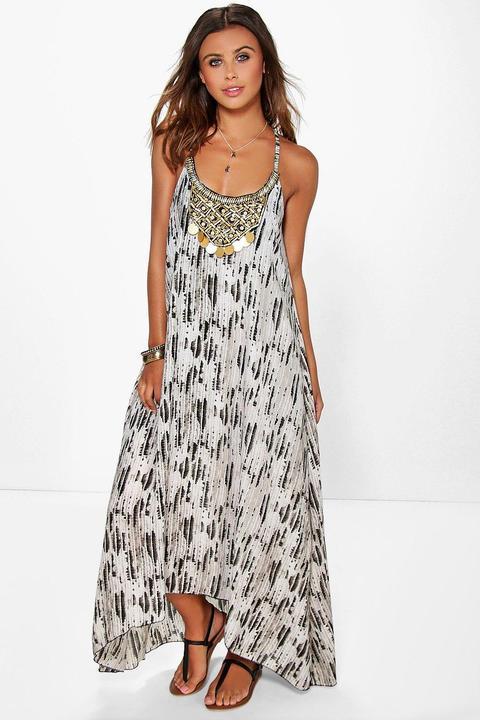 Womens Petite Snake Print Beaded Hanky Hem Dress - Multi - 10