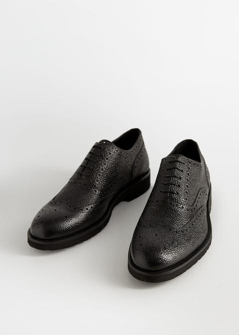 Zapato Blucher Piel Troquelados Ligero