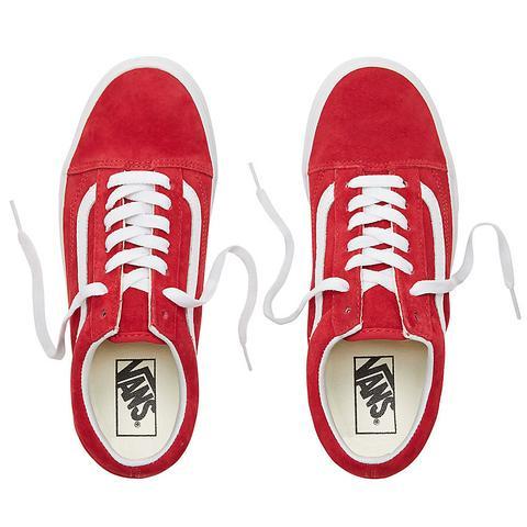 Vans Zapatillas De Ante Old Skool ((pig Suede) Scooter/true White) Mujer Rojo