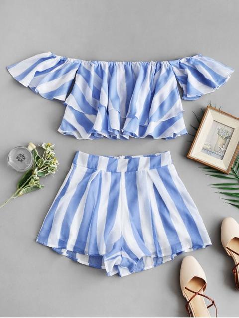 b579ade98 Top Corto A Rayas Con Hombros Descubiertos Y Pantalones Cortos Light Sky  Blue from Zaful on 21 Buttons