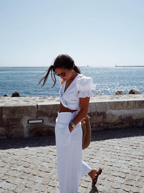 Pantalones Lino Blancos