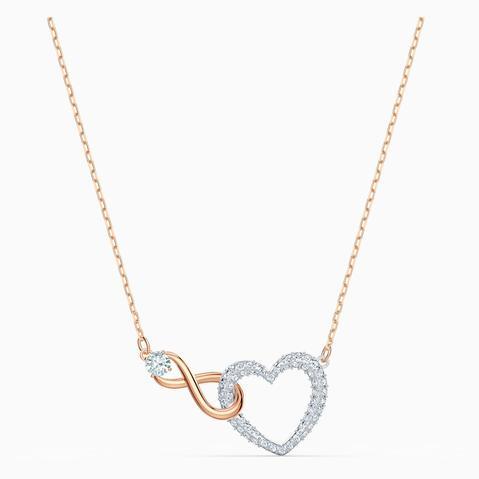 Collar Swarovski Infinity Heart, Blanco, Combinación De Acabados Metálicos de Swarovski en 21 Buttons