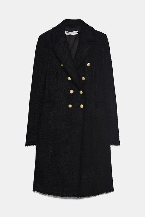 Abrigo Tweed Botones de Zara en 21 Buttons