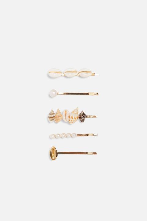 Set Haarspangen Mit Muscheln Und Zierperlen