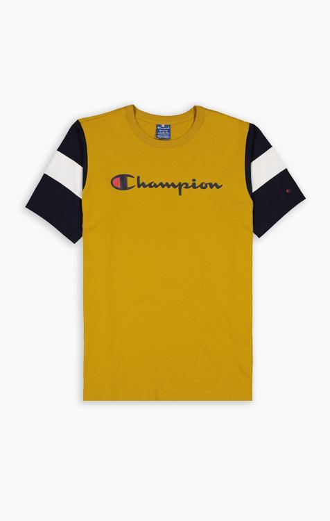Champion T-Shirt mit Logo-Schriftzug und Ärmeln in Farbblock-Optik schwarz