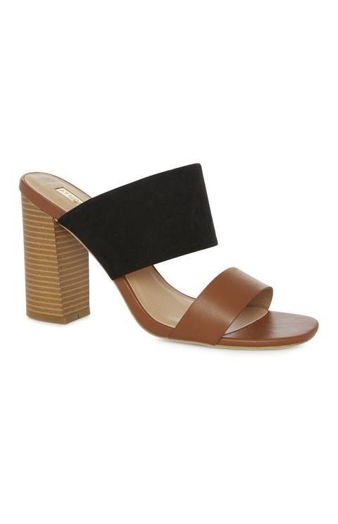 Black 2 Part Block Heel Sandal from