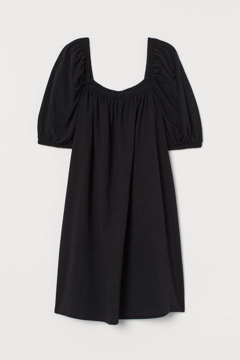 Robe À Manches Bouffantes - Noir