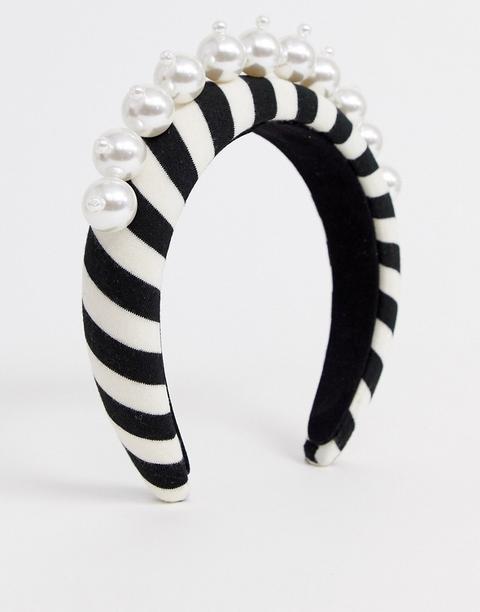 Asos Design Cerchietto Imbottito Con Grandi Perle A Righe Bianche E Nere Multicolore di ASOS su 21 Buttons