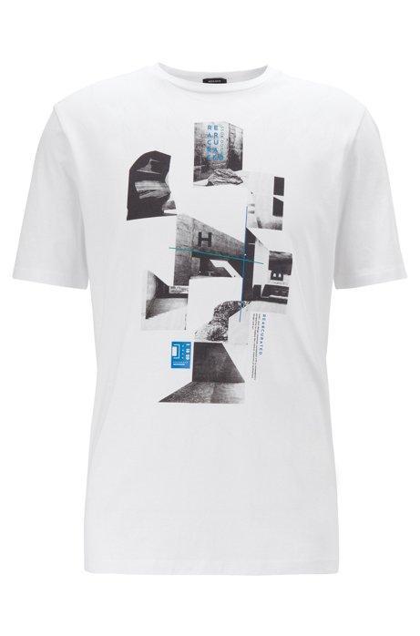 Camiseta Con Cuello Redondo Y Estampado De La Colección En Punto Sencillo