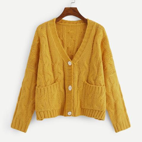 Suéter Escote V Con Botón Y Bolsillo Delantero-grande de SheIn en 21 Buttons