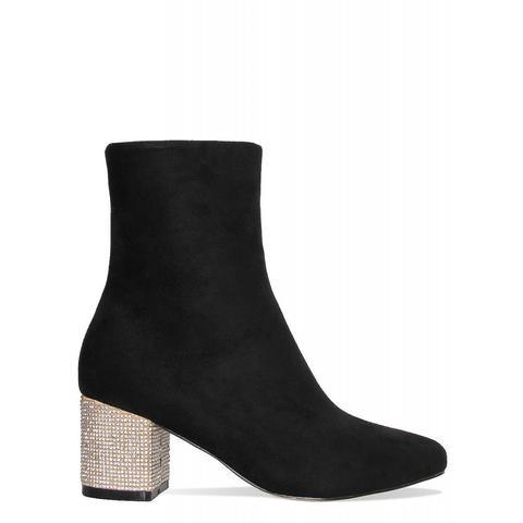 Azzura Black Suede Diamante Block Heel