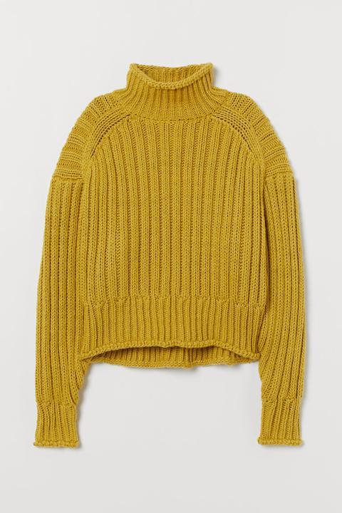 Jersey De Cuello Alto En Punto - Amarillo
