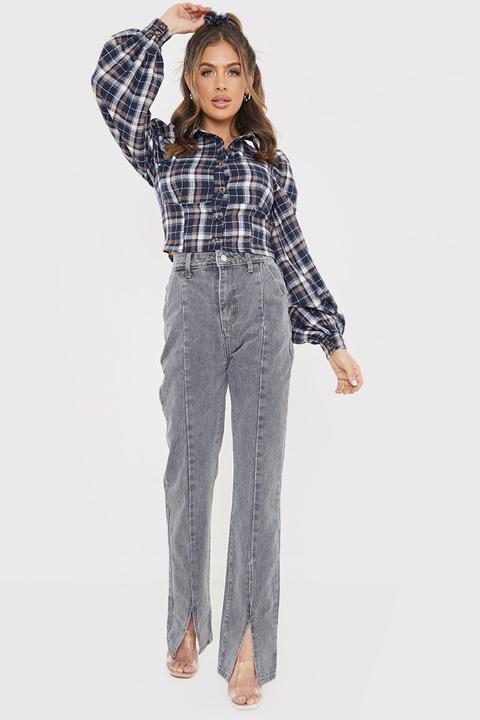 Grey Jeans - Olivia Bowen Grey Denim High Waisted Split Front Straight Leg Jeans