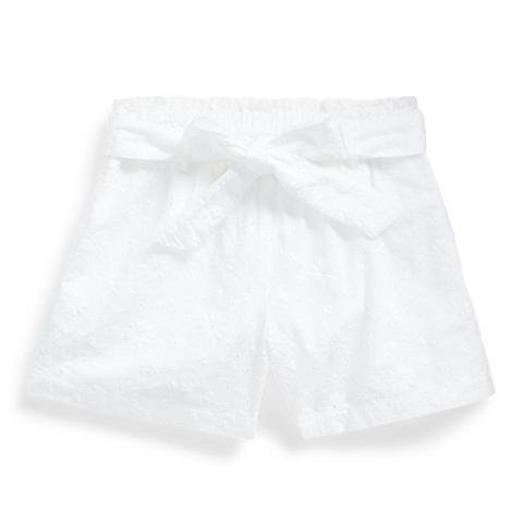 Pantalones Cortos Tipo Paperbag De Algodón Calado