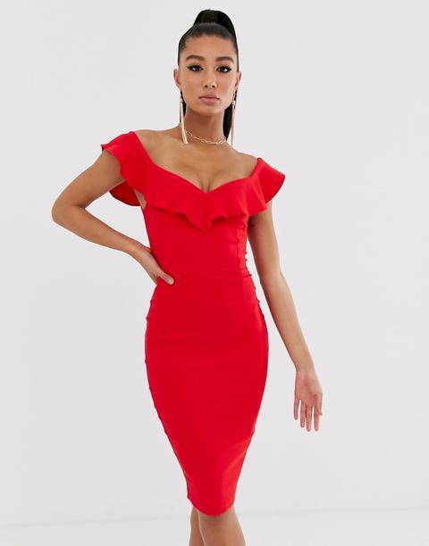 Vestido Rojo Ajustado Con Escote En Forma De Corazón Y Volante De Vesper