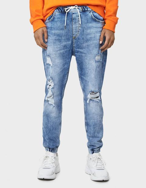 Jeans Jogger Con Rotos de Bershka en 21 Buttons