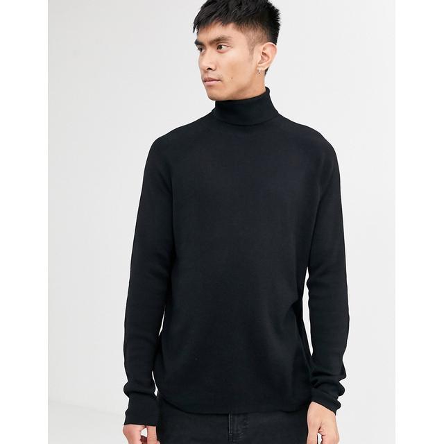 Weekday – Trey – Schwarzer Pullover Mit Stehkragen