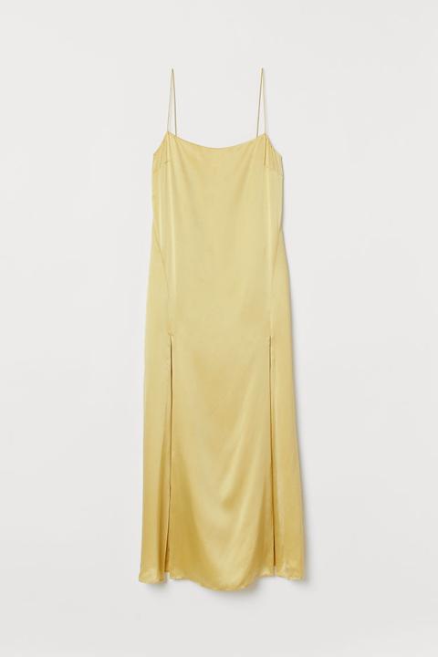Vestido De Seda - Amarillo de H&M en 21 Buttons