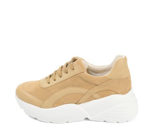 Sneaker Combinada Con Serraje Y Piel Beige de Andreas en 21 Buttons