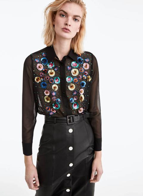 Camisa Bordado Flores de Uterqüe en 21 Buttons