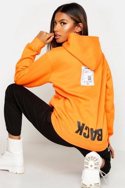 Sweat À Capuche À Slogan Imprimé Dans Le Dos Orange 36, Orange from Boohoo on 21 Buttons