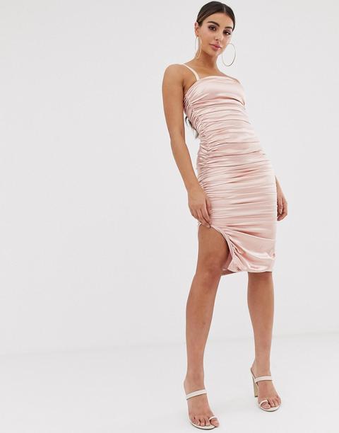 Vestido Midi De Satén Fruncido Color Arena De The Girlcode-beis