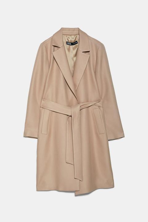 Abrigo Cinturón de Zara en 21 Buttons