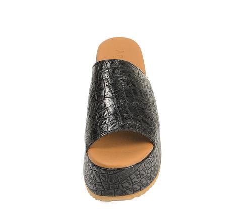Sandalia Negra Con Grabado Cocodrilo