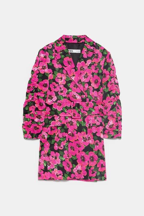 Chaqueta Vestido Estampado Floral de Zara en 21 Buttons