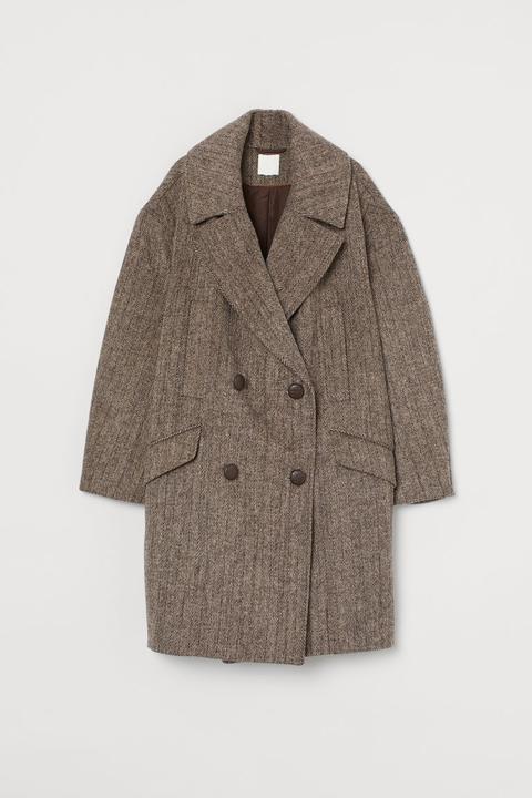 Abrigo Oversize Con Lana - Marrón de H&M en 21 Buttons