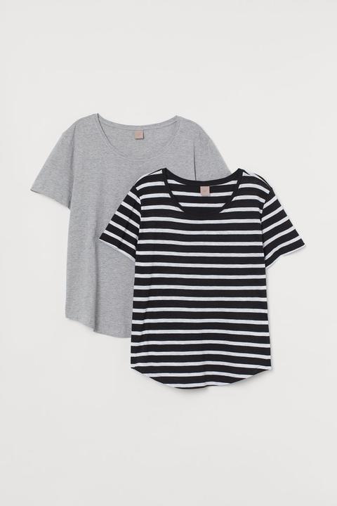 H & M+ Pack De 2 Camisetas - Negro