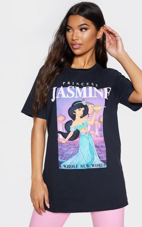 Black Disney Princess Jasmine Print Oversized T Shirt