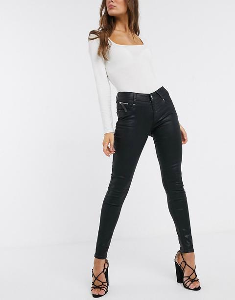 Morgan Coated Jean In Black