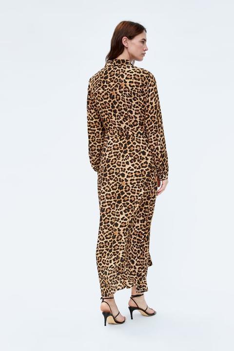 Vestido Largo Estampado Animal