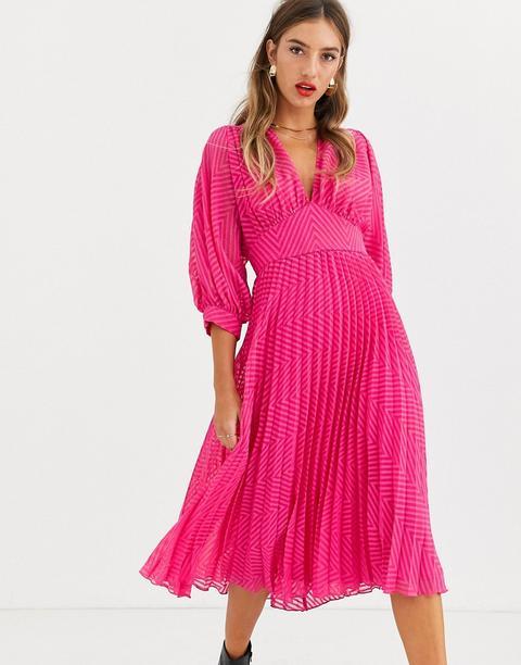 Vestido Midi Con Diseño Plisado Y Mangas De Murciélago Plumeti Y Detalle De Chevron De Asos Design-rosa