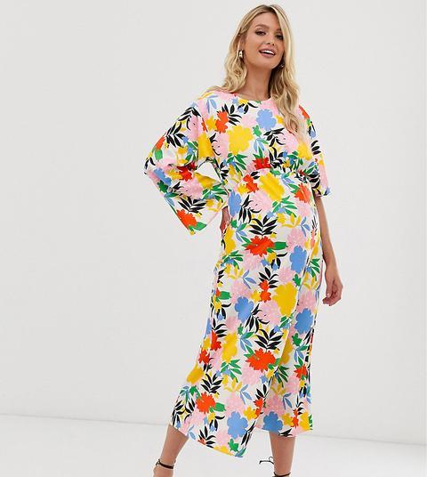 Vestido Largo Con Mangas Asimétricas Y Estampado Floral Llamativo De Asos Design Maternity de ASOS en 21 Buttons
