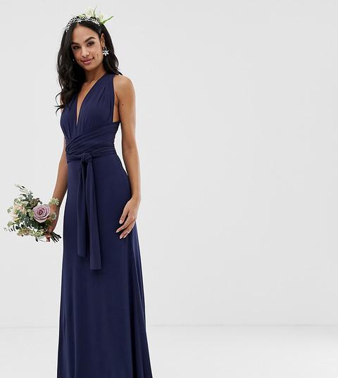 Vestido Largo Azul Marino De Dama De Honor Con Diseño Multiposición Exclusivo De Tfnc