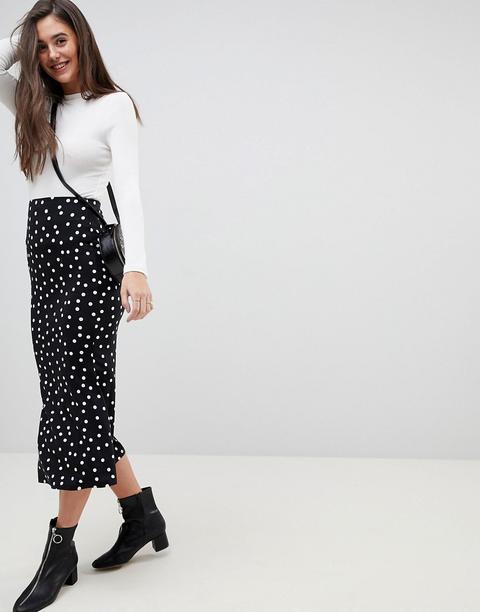 Asos Design Midi Skirt With Kickflare In Polka Dot