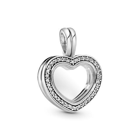 Charm Colgante En Plata De Ley Locket Corazón Brillante de Pandora en 21 Buttons