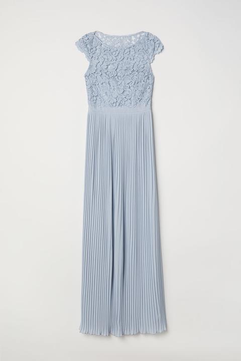 Vestido Largo Plisado - Azul de H&M en 21 Buttons