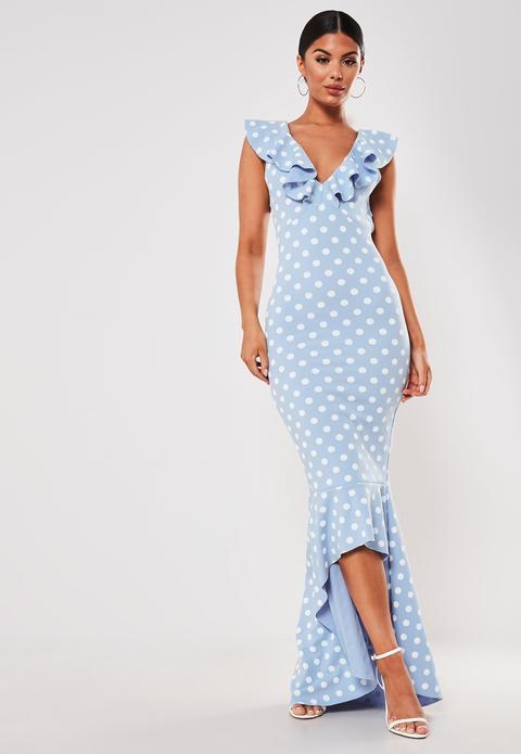 Bleu Ciel Robe Bleu Clair A Pois Mi Longue A Volants From Missguided On 21 Buttons