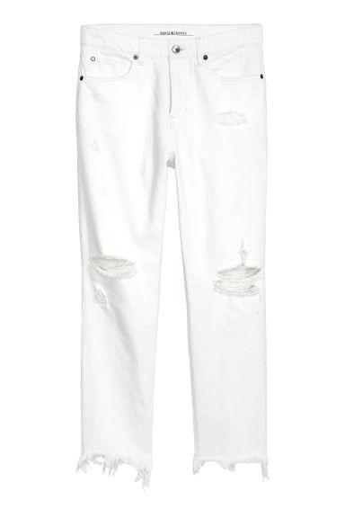 Slim High Cropped Jeans - Blanc
