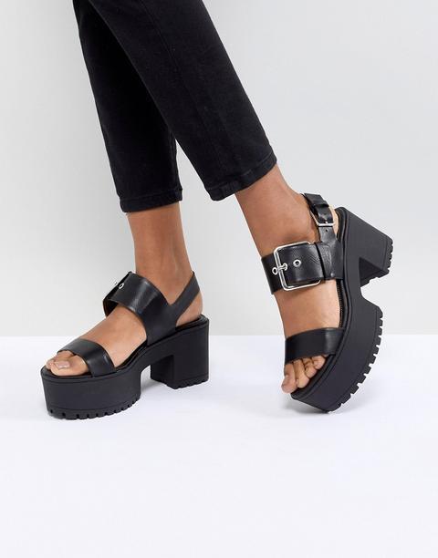 Bershka Chunky Buckle Flatform Sandals