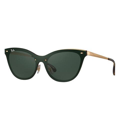 Blaze Cat Eye Mujer Sunglasses Lentes: Verde, Montura: Oro