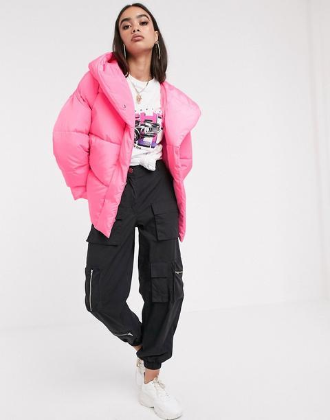 Plumífero Rosa Con Capucha Y Diseño Cruzado Bubblegum De Asos Design