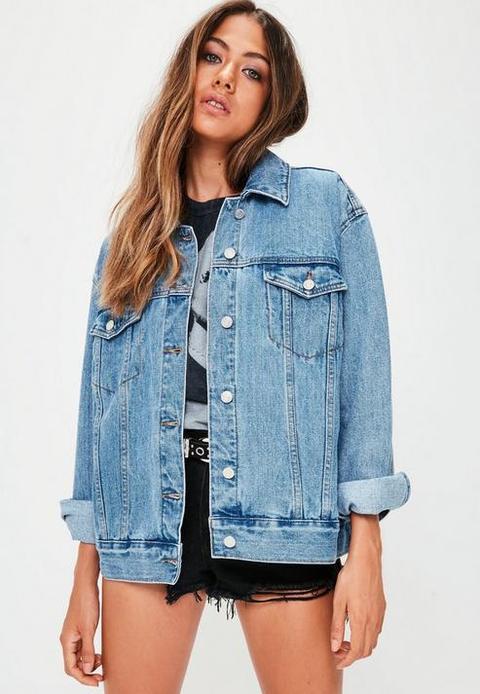 Blue Oversized Denim Jacket, Blue