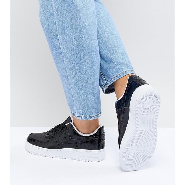 Nike - Air Force 1 - Sneakers Nere Effetto Pelle Di Serpente - Nero ...