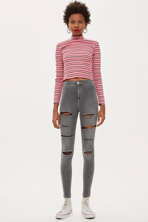Graue Joni Jeans In Extremer Destroyed-optik